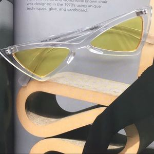 Accessories - Retro Slender Clear Cat Yellow Frame Sunglasses